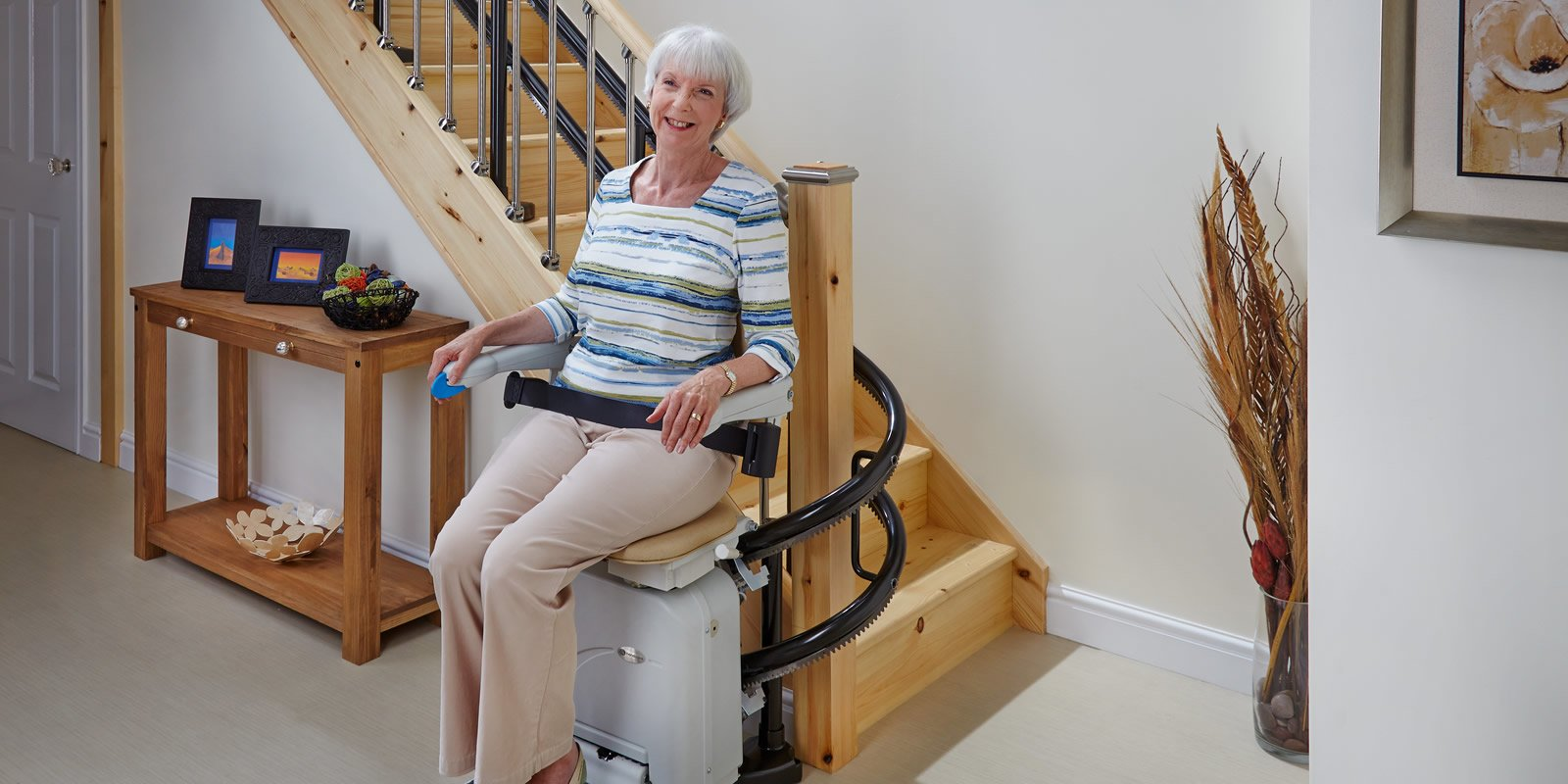 Double Rail Curved Walnut Creek Stairlifts